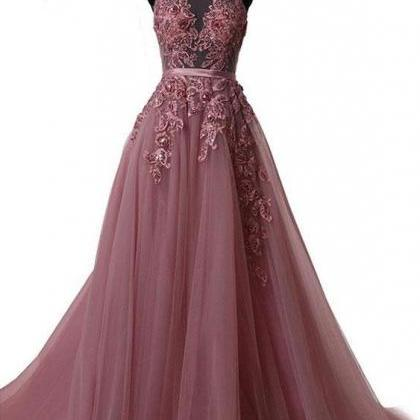 Sexy long prom dress, beautiful lac..