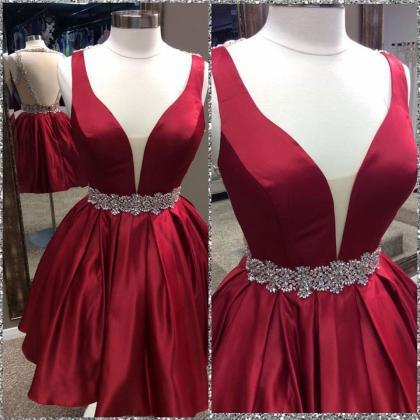 Red short prom dress,sexy homecoing..