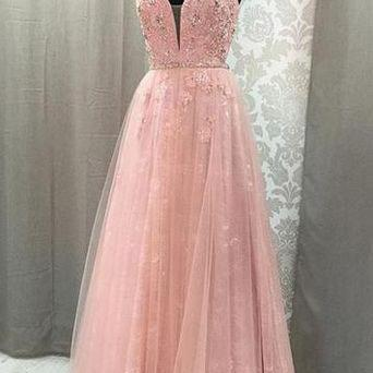 Pink long prom dress, sexy hand mad..