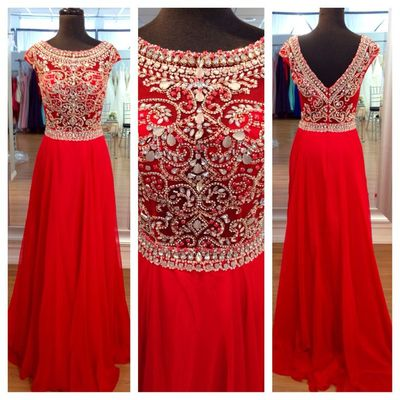 Cap Sleeve prom dress,Red prom dres..