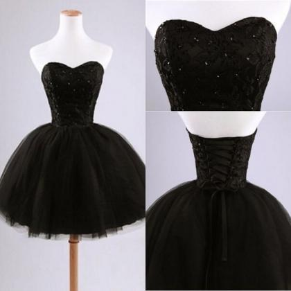 Black short prom dress,black ball g..