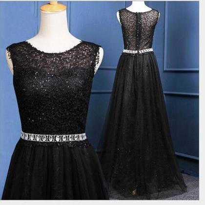 Black prom dress,sleeveless prom dr..