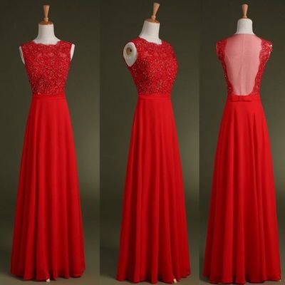 Red prom dresses,Custom prom dress,A Line prom dresses,Round Neck Long Prom Dresses, Long Evening Dresses,Formal Dresses L031