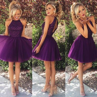 Homecoming Prom Dress A Line High Neck prom dresses Elegant Women dress,Party dress Short Evening Dress L195
