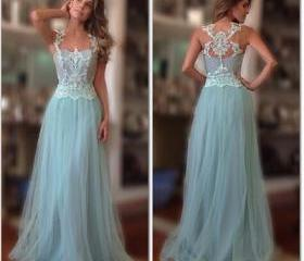 Lace Prom Dress,high..