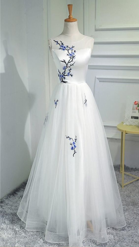 Simple a-line princess prom dress, white long prom dress, beautiful embroidery hand made dress, dress for prom L995