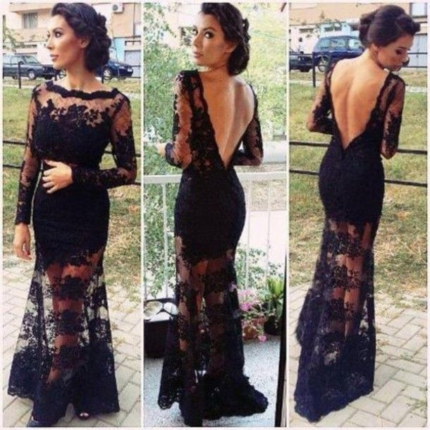 Long Sleeves Prom Dresslace Prom Dress Backless Prom Dress Mermaid