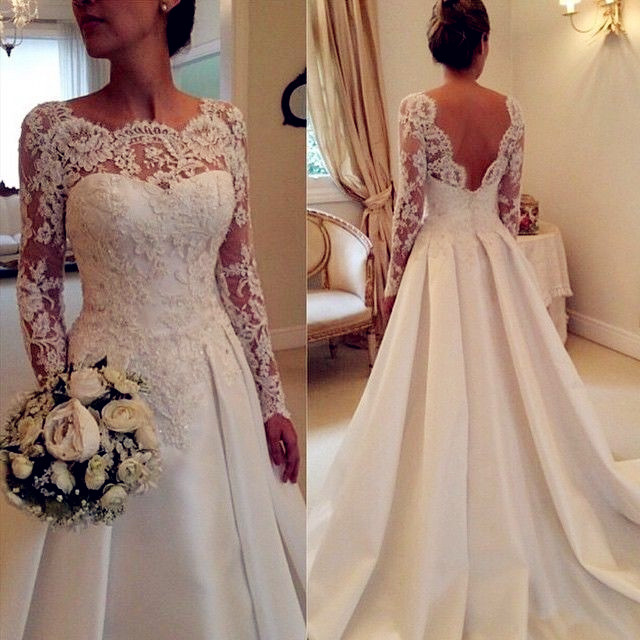Long Sleeves Prom Dress,Lace Prom Dress Elegant Women dress,wedding dress L151