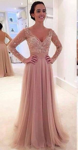 High Quality Prom Dresslong Sleeves Prom Dressa Line Princess