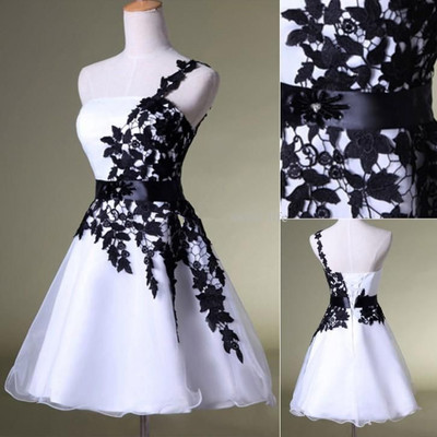 One-shoulder prom dress,homecoming dress,short prom dress,white and black short prom dress,high quality prom dress,Elegant Women dress,Party dress,evening dress L510