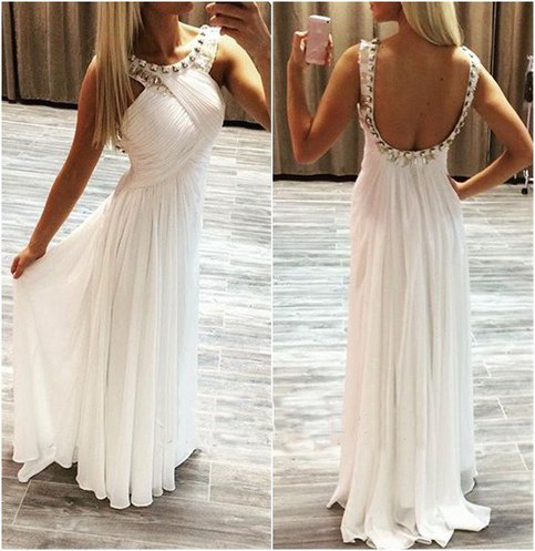 White Prom Dress,chiffion Prom Dress,backless Prom Dress,beautiful ...