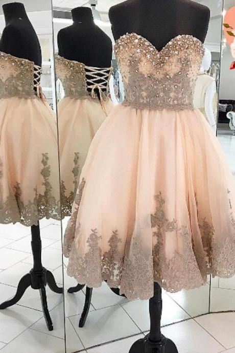 Sweatheart neck prom dress,short prom dress,homecoming prom dress, beautiful beading prom dress,lace prom dress,high quality custom made prom dress,elegant wowen dress,party dress,evening dress,dress for teens L845