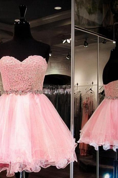 Strapless prom dress, pink prom dress, short prom dress, homecoming prom dress, a-line princess prom dress, elehant wowen dress, party dress, evevning dress, dress for teens L854