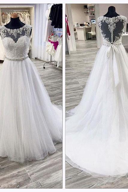 Wedding dress,lace and tulle wedding dress, a-line princess wedding dress,round neck sleeveless wedding dress, high quality hand made wedding dress, dress for wedding W001