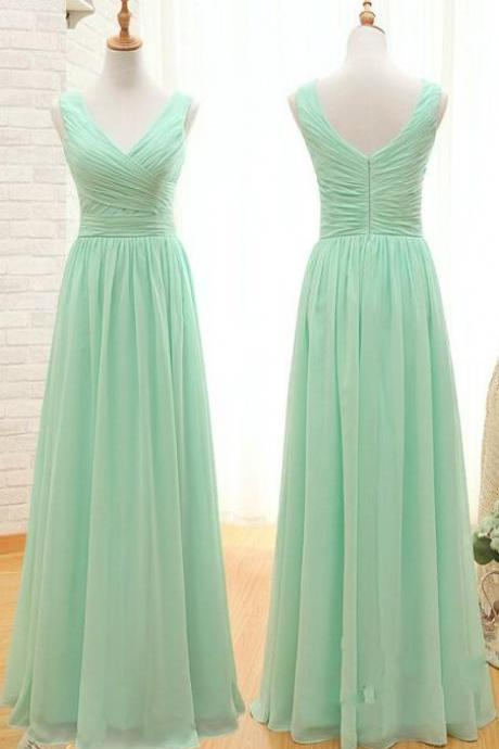 Simple long bridesmaids dress, v-neck prom dress,sleeveless dress, dress for bridesmaids L638