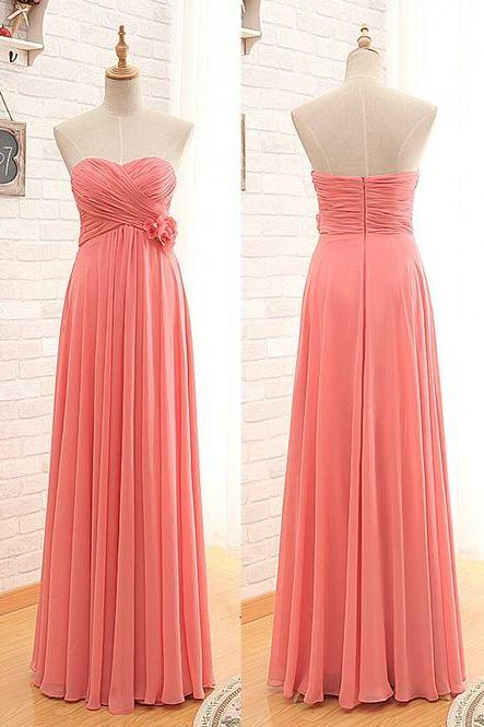 Sweatheart neck long bridesmaid dress, strapless prom dress,high quality handmade prom dress, elegant wowen dress, party dress, dress for teens L650