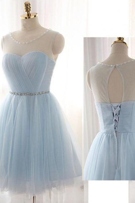 Simple short homecoming prom dress, tulle and beads prom dress,sleeveless short dress, high quality hand made prom dress, elegant wowen dress, party dress dress for teens L 807
