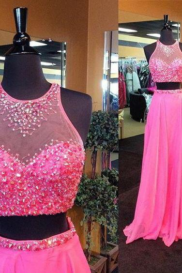 Sexy long prom dress, two pieces long prom dress, beautiful beading prom dress ,simple long prom dress, high quality hand made prom dress, ellegant wowen dress,party dress, dress for teens L813