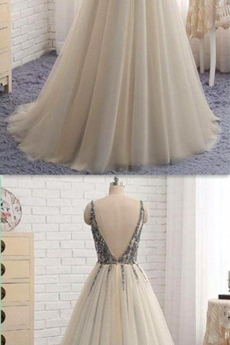 Deep V- neck long prom dress, a-line princess prom dress,lace appliques prom dress, beautiful beading prom dress,elegant wowen dress,party dress, dress for teens L878