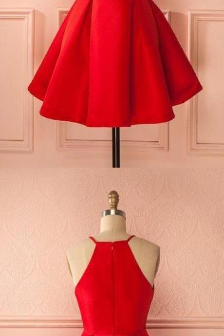 Simple short homecoming prom dress, red prom dress,sleeveless short dress, high quality hand made prom dress, elegant wowen dress, party dress dress for teens L 880