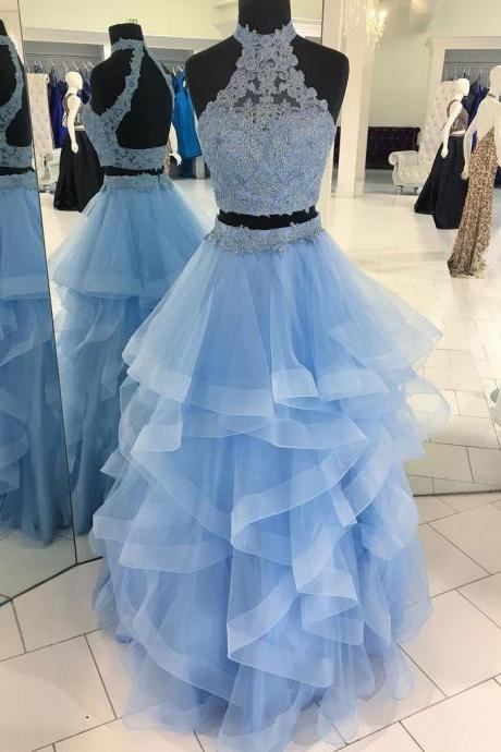 Two-pieces long prom dress, beautiful lace appliques prom dress, high quality handmade prom dress, sexy long prom dress, elegant wowen dress, party dress, dress for teens L927