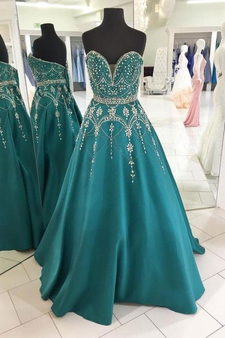 A-line simple prom dress,strapless long prom dress, princess prom dress,beautiful beading prom dress,high quality hand made prom dress, elegant wowen dress party dress, dress for teens L931