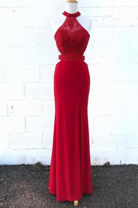 Red Halter Sheer Lace Mermaid Long Prom Dress, Evening Dress Featuring Cutout Back