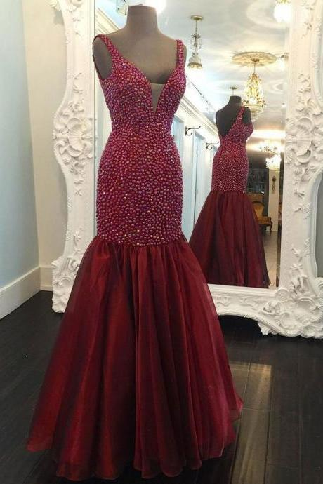 Sexy mermaid long prom dress, beautiful beading prom dress,red dress, high quality hand made prom dress, elegant wowen dress, party dress, dress for teens L944