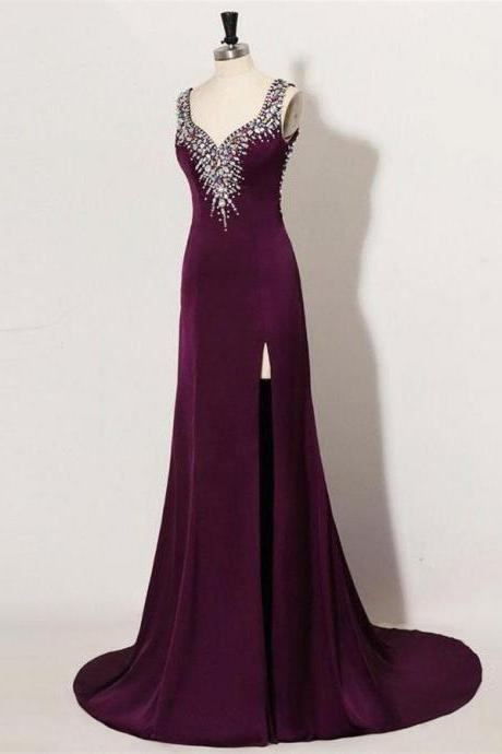 Sleeveless prom dress, beautiful colorful beading prom dress ,high quality hand made long prom dress,elegant wowen dress, party dress, dress for teens L956