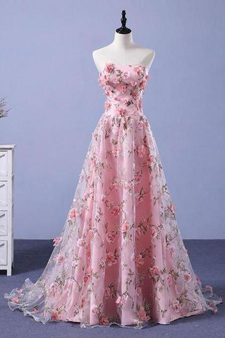Strapless a-line long prom dress ,beautiful flowers dress, high quality hand made prom dress, party dress, evening dress, dress for teens L993