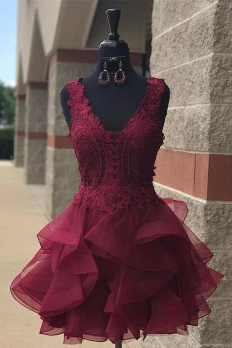 Red short homecoming prom dress,high quality hand made short dress,elegant prom dress, dress for teens L975