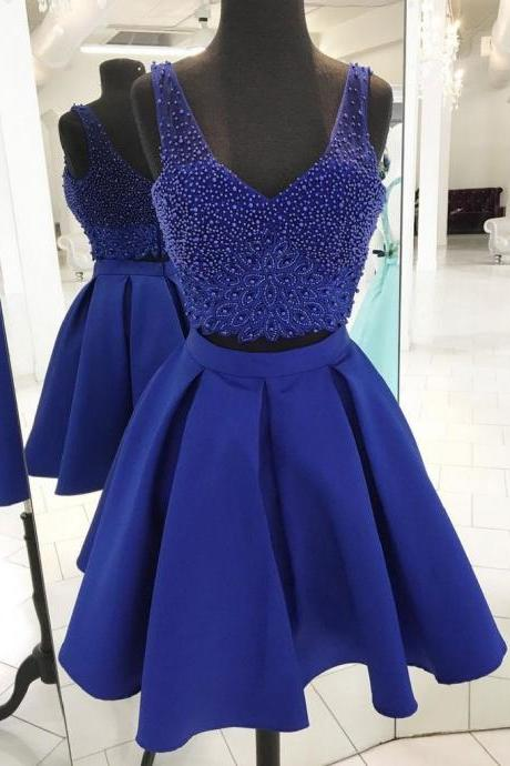 Blue prom dress, short homecoming dress,two-pieces hand made dress,beautiful beading dress,elegant wowen dress, dress for teens L988