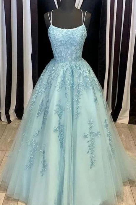 Blue prom dress, long hand made dress,beautiful lace appliques dress,elegant wowen dress,party dress, dress for teens L1016