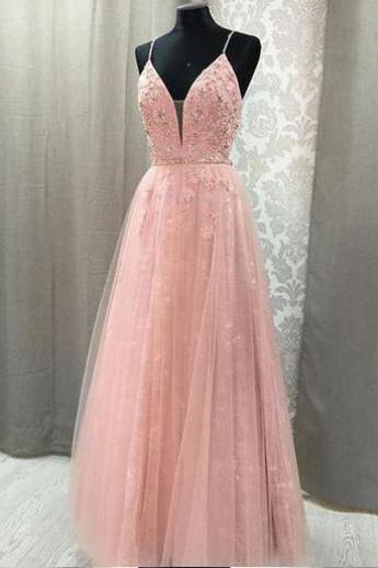 Pink long prom dress, sexy hand made dress,beautiful lace and beads prom dress, elegant wowen dress ,party dress, dress for teens L1022