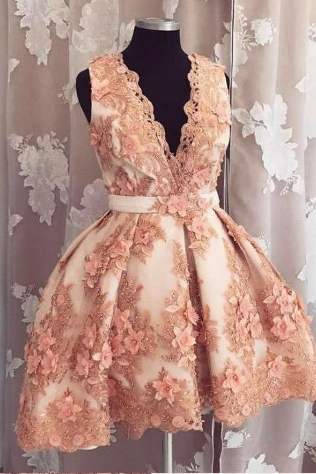 Deep V neck prom dress, sexy short prom dress, elegant flowers appliques dress,high quality hand made dress, party dress, dress for teens L1005