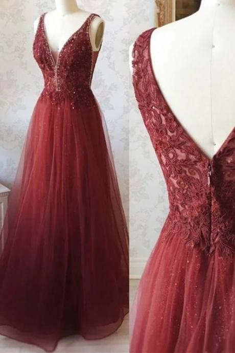 Deep V neck prom dress, long prom dress,high quality hand made dress, a-line sleeveless princess prom dress,party dress, dress for teens L1030