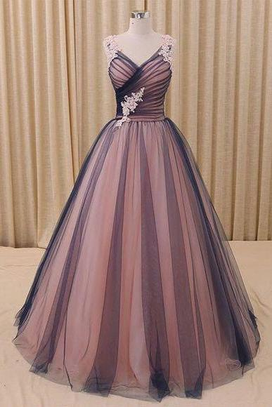 Sleeveless a-line ball prom dress, black tulle and pink tulle long dress,lace appliques dress, high quality hand made prom dress, elegant wowen dress,party dress dress for prom L999