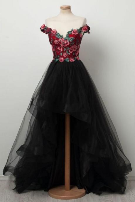 Sexy hi-low prom dress, flowers prom dress, black dress,elegant party dress,dress for teens L1000