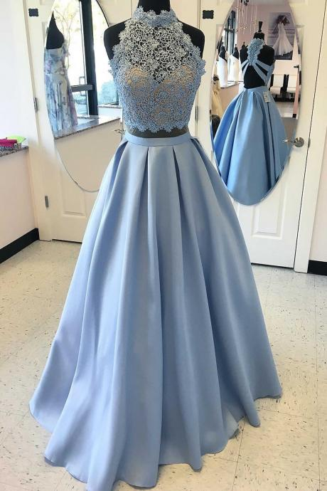 Blue prom dress, two pieces hand made prom dress,beautiful lace dress,elegant party dress, dress for teens L1001