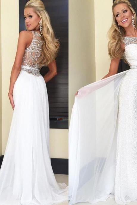 High quality prom dress,long prom dress,a-line princess dress,sleeveless prom dress,round neck dress,beautiful beading Evening Dress,white chiffion dress,Elegant Women dress,Party dress L468