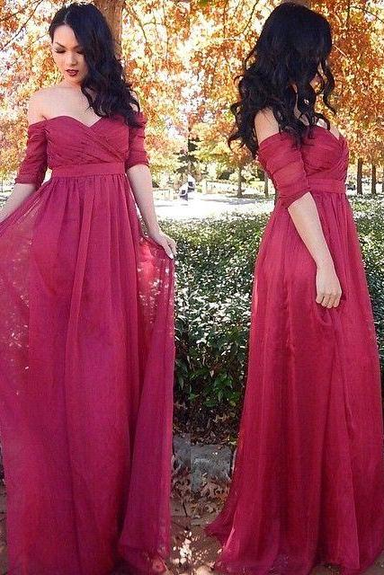 High quality prom dress,long prom dress,a-line princess dress, drop sleeves prom dress,sweatheart neck dress,beautiful chiffon Evening Dress,Elegant Women dress,Party dress L449