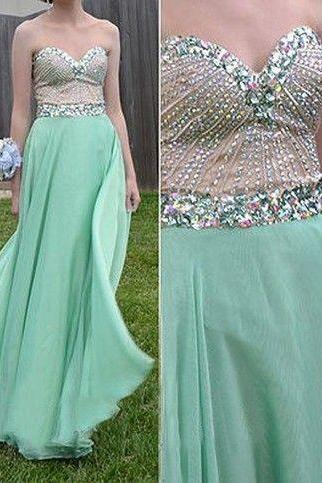 Sweatheart neck prom dress,strapless prom dress,beautiful beading dress,chiffion dress,elegant wowen dress ,party dress,evening dress L491