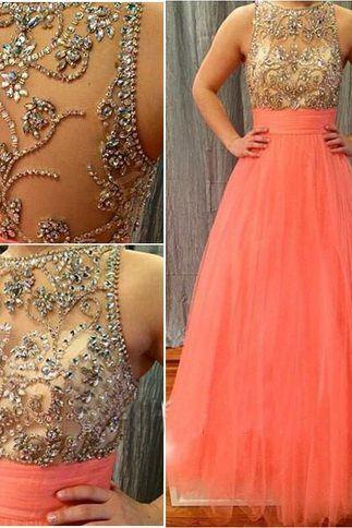 A-line sleeveless prom dress,long prom dress,sexy evening dress ,beautiful beading dress for prom,tulle dress,high quality custom made dress ,elegant wowen dress,party dress L493