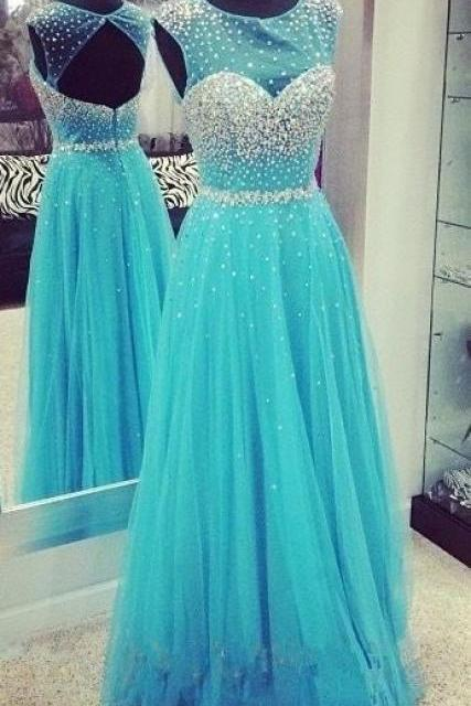 A-line princess dress,long prom dress,beautiful beading dress,tulle dress,sleevless prom dress,elegant wowen dress,party dress,evening dress L511