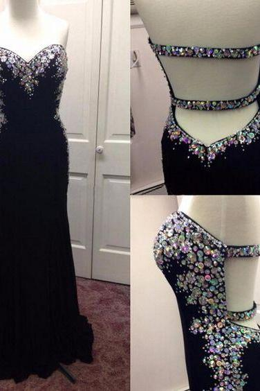 Black prom dress,sweatheart neck prom dress,strapless prom dress,long prom dress,beautiful beading prom dress,elegant wowen dress,party dress,evening dress L536