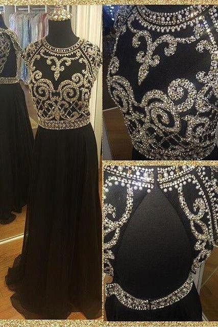 Black prom dress,chiffion prom dress,high quality prom dress,beautiful beading prom dress,dress for teens,elegant wowen dress,party dress,evening dress L565