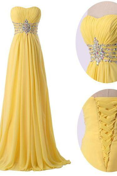 Strapless prom dress,chiffion prom dress,yellow prom dress,long prom dress,beautiful beading prom dress,elegant wowen dress,party dress,evening dress,dress for tenns L595