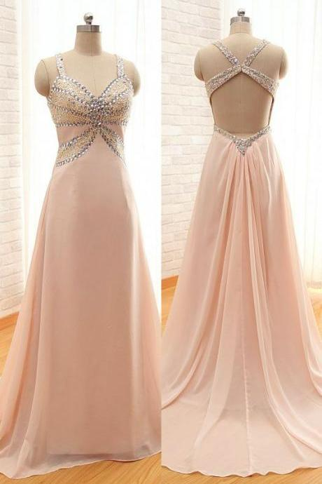 Pink prom dress,chiffion prom dress,sexy prom dress,long prom dress,beautiful beading prom dress,elegant wowen dress,party dress,evening dress,simple prom dress,dress for teens L578