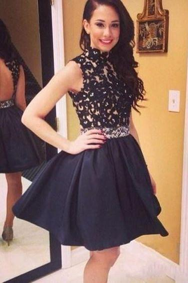 Black prom dress,lace appliques prom dress,beautiful beading prom dress,homecoming prom dress,short prom dress,elegant wowen dress,party dress,evening dress,dress for teens L618