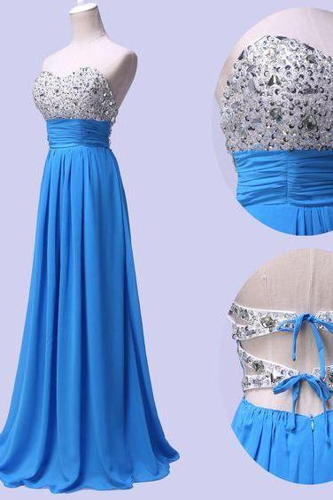 Strapless prom dress,simple prom dress,a-line princess prom dress,long prom dress,chiffion prom dress,beautiful brading prom dress,elegant wowen dress,party dress,evening dress,dress for teens L630